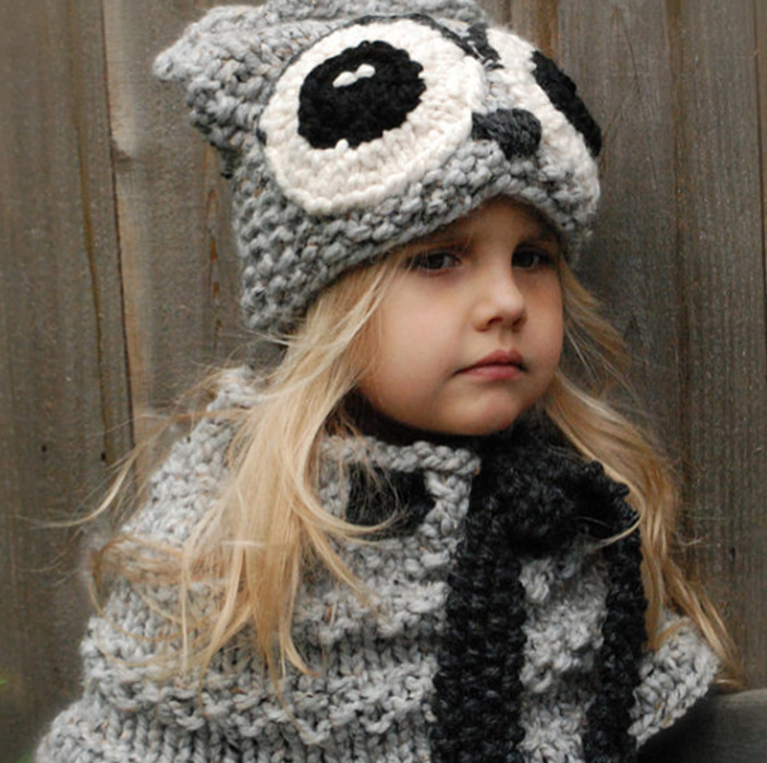 Kids Ages 2-9 Winter Warm Chunky Thick Knit Beanie Hats and Scarves Real Owl ears lovely cute Hat Scarf Set for Child