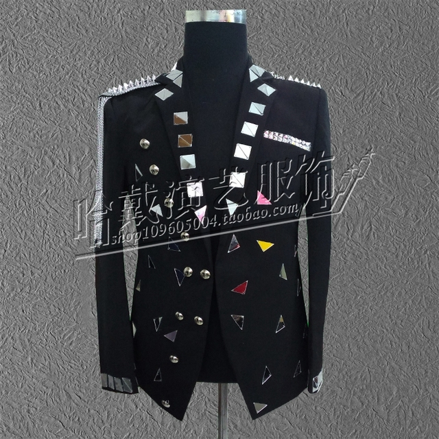 S-6XL!  2018  Fashionable male singer lens stage costumes  The singer's clothing High quality performance clothing.