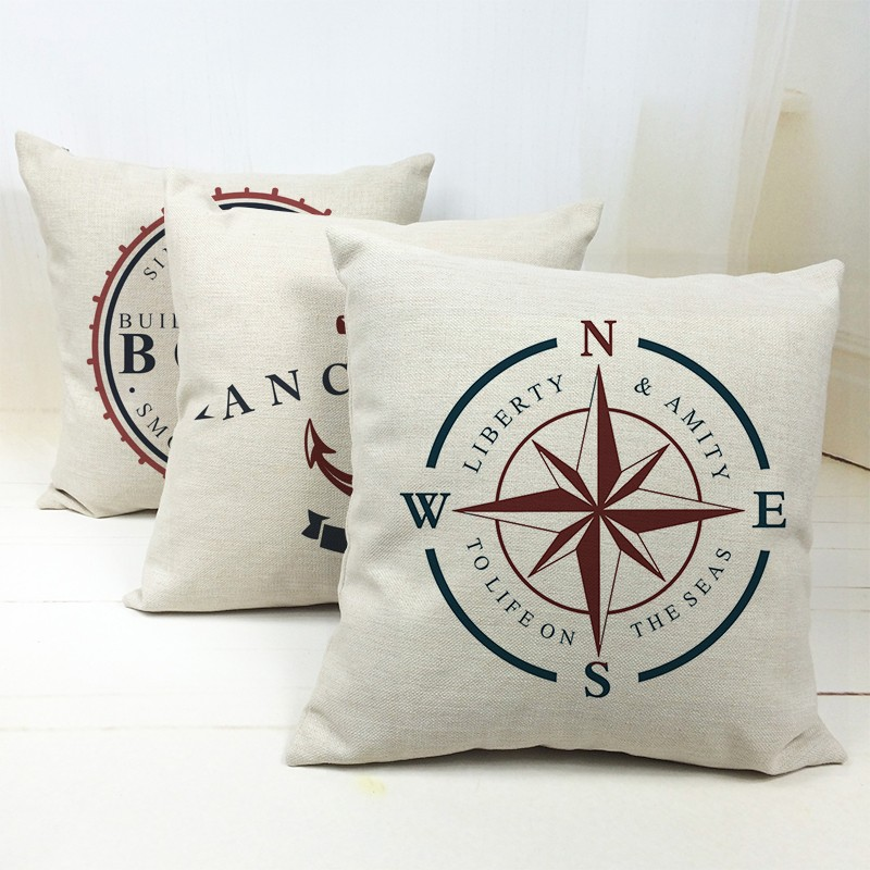 Nordic Ocean Seafarer Voyager Boats Anchors Compass Print Pillow Cover Decorative Sofa Throw Pillow Case Home Cushion Cover