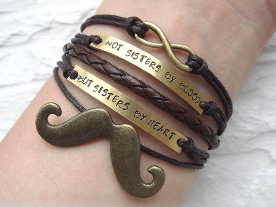 Customized Friendship Bracelet Mustache Infinity Bracelet Engraved