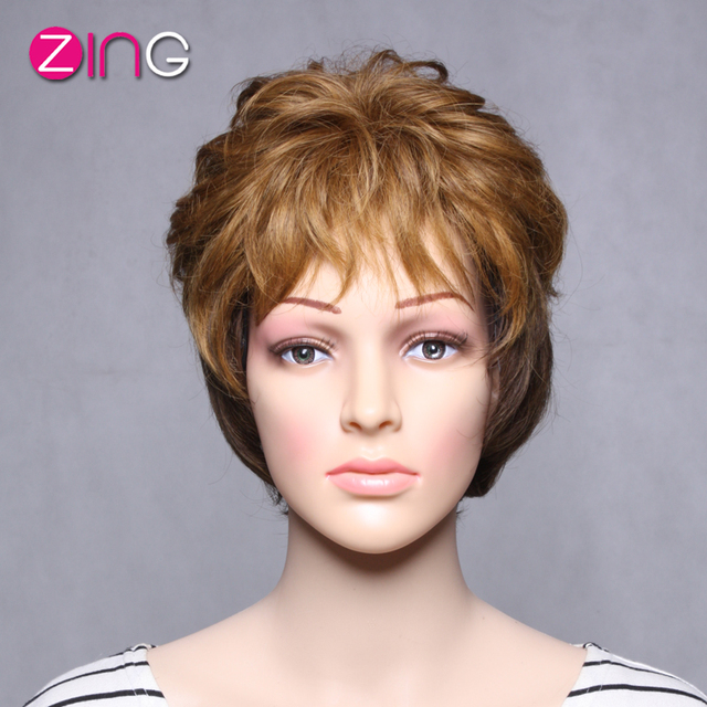 Zing Hair Ombre Wig Dark Brown And Light Brown Color Cute Short