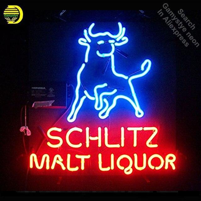 Neon Sign for SCHLITZ MALT LIQUOR neon bulb Sign Beer Club Neon lights Sign glass Tube Iconic Custom Design Cerveja Night Light