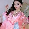 Новая Коллекция Весна Лето Осень Женщины Шелковой Ночной Рубашке 2 шт. Набор Халат + Ночной Рубашке Леди Sexy пижамы Платье женское платье набор