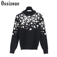 2017 Runway Designer Brand Sweater Women Long Sleeve 3D Bead Floral Black Sweaters Knitted Pullover Autumn