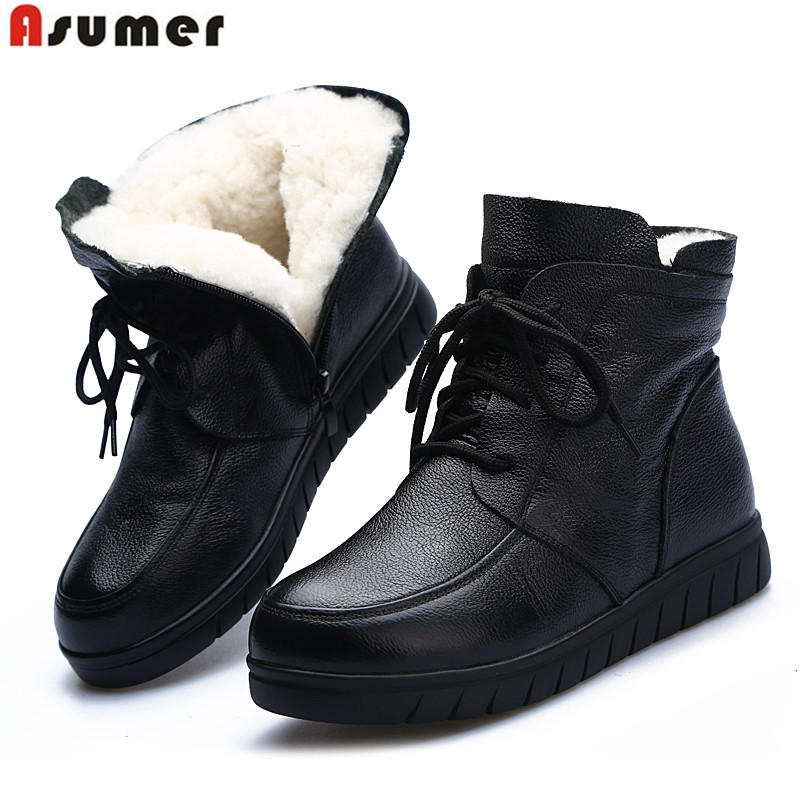 ASUMER Boots Comfortable Flat Winter Genuine-Leather Ladies New Zip Ankle Wool No