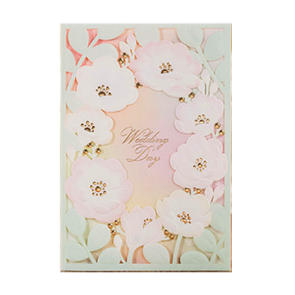 New Spring Flowers Wedding Invitations Cards with Pink Laser Cut