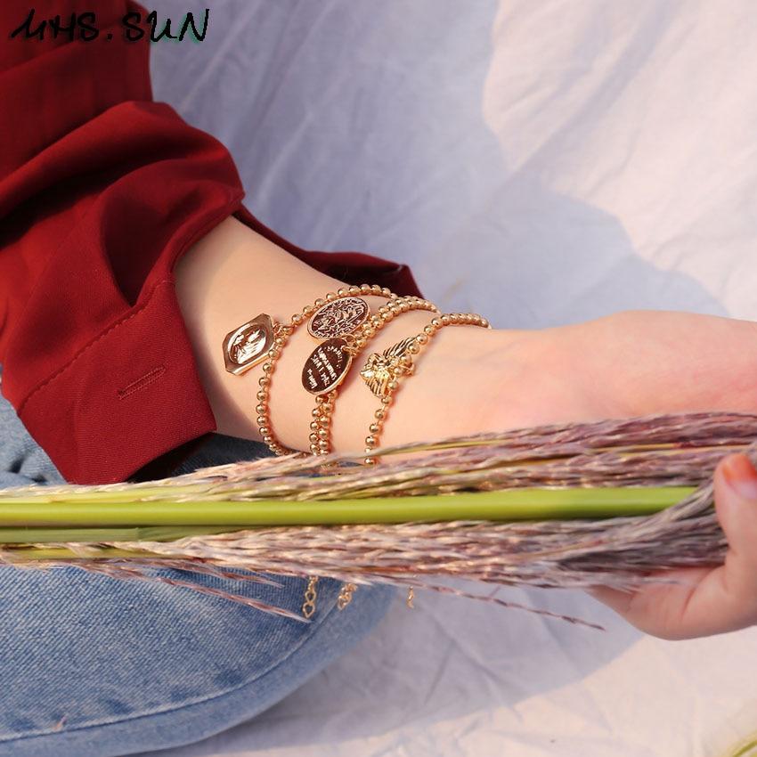 31 (6) Fashion Pendants Women Bracelets Bangles Gold Color Vintage Girls Bracelets Contracted Design Feamle All-Match Jewelry