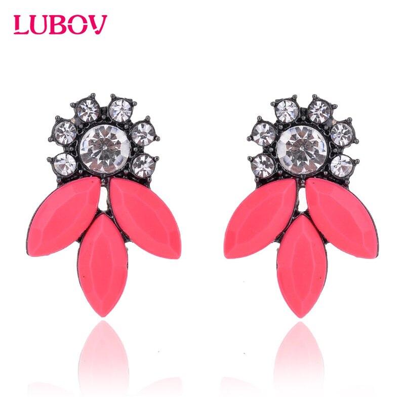 Hot 2018 Acrylic Crystal Opal Stone Piercing Earrings Sparkling Rhinestone Stud Earrings Trendy Women Jewelry for Wedding Party