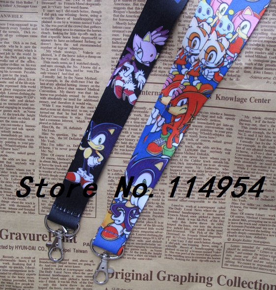 Free shipping 50 Pcs Wholesale lot Sonic Necklace Strap Lanyards Cell Phone PDA Key ID Strap