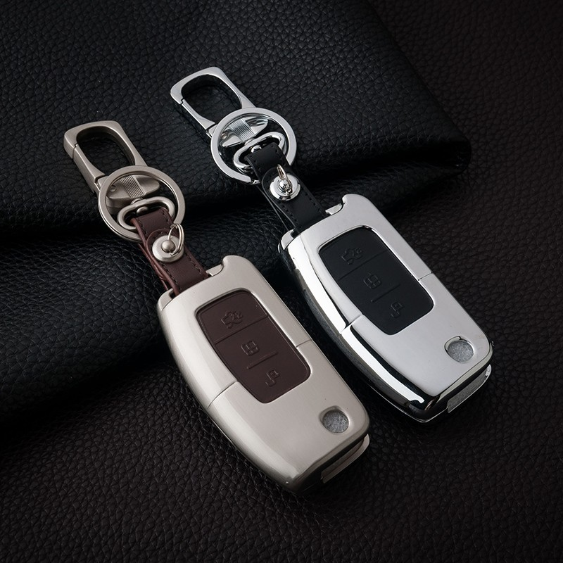 Aluminum-Leather-Car-Styling-Key-Cover-Case-Auto-Accessories-For-Ford-Focus-2-Escape-Ecosport-Fiesta
