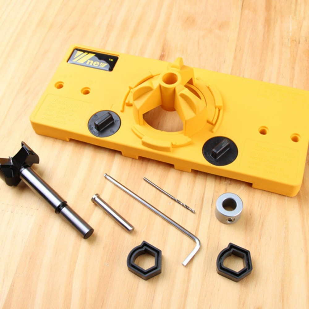35MM Hinge Jig Drill Guide Set Wood Hole Saw Drill Locator Door Boring Hole Template Bit Woodworking Tools35MM Hinge Jig Drill Guide Set Wood Hole Saw Drill Locator Door Boring Hole Template Bit Woodworking Tools
