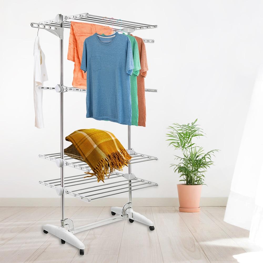 Plegable cuatro capa ropa estante de secado de ropa de acero inoxidable zapatos móvil de barco de Francia HWC