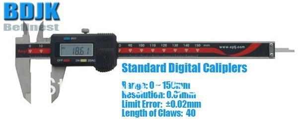 0~150mm Standard Digital Vernier Caliper / Measuring Tool / Instrument with 0.02mm Limit Error 0 300mm high precision digital vernier caliper measuring tool instrument with 0 025mm limit error