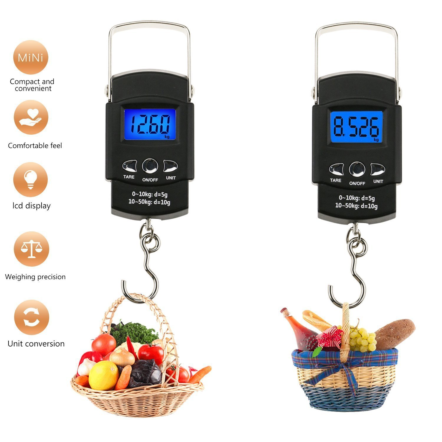 06eb7cac2513 US $7.99 40% OFF|110lb/50kg Electronic Balance Digital Fishing Postal  Hanging Hook Scale with Measuring Tape Backlit LCD Display Digital Scale-in  ...