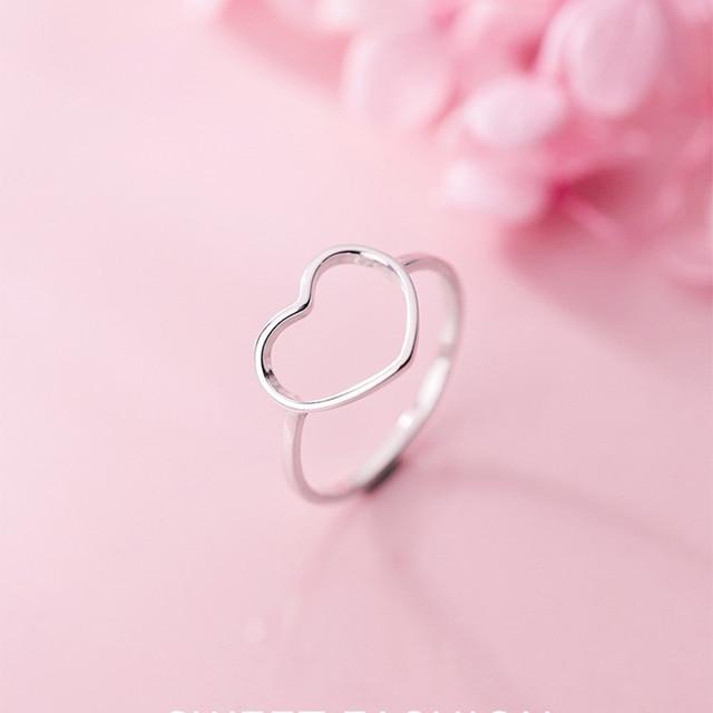 INZATT Genuine 925 Sterling Silver Minimalist Ring For Women Wedding Hollow Heart Fashion jewelry Cute Valentine's Day Gift 1