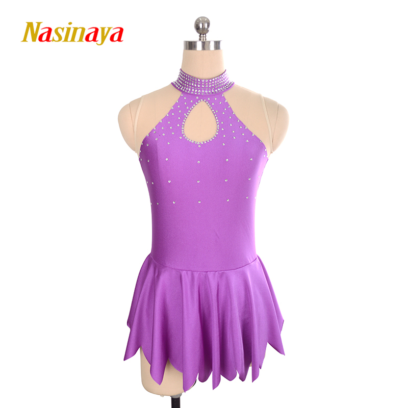 Nasinaya Competição De Patinação No Gelo Figura Patinação Vestido Personalizado Saia para Menina Mulheres Crianças Ginástica Desempenho Roxo