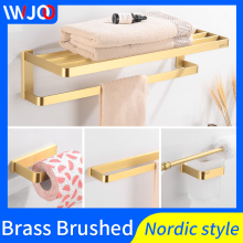 Bathroom Towel Holder Gold Brass Towel Rack Hanging Holder Wall Mounted Towel Bar Robe Hooks Toilet Paper Holder Bathroom Shelf high quality bathroom towel holder with ceramic base brass towel rack 60cm towel shelf