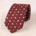Nueva moda blanco dots lazos para los hombres de la universidad de borgoña trajes a rayas de poliéster corbata gravata lazos para hombre corbatas paisley orange