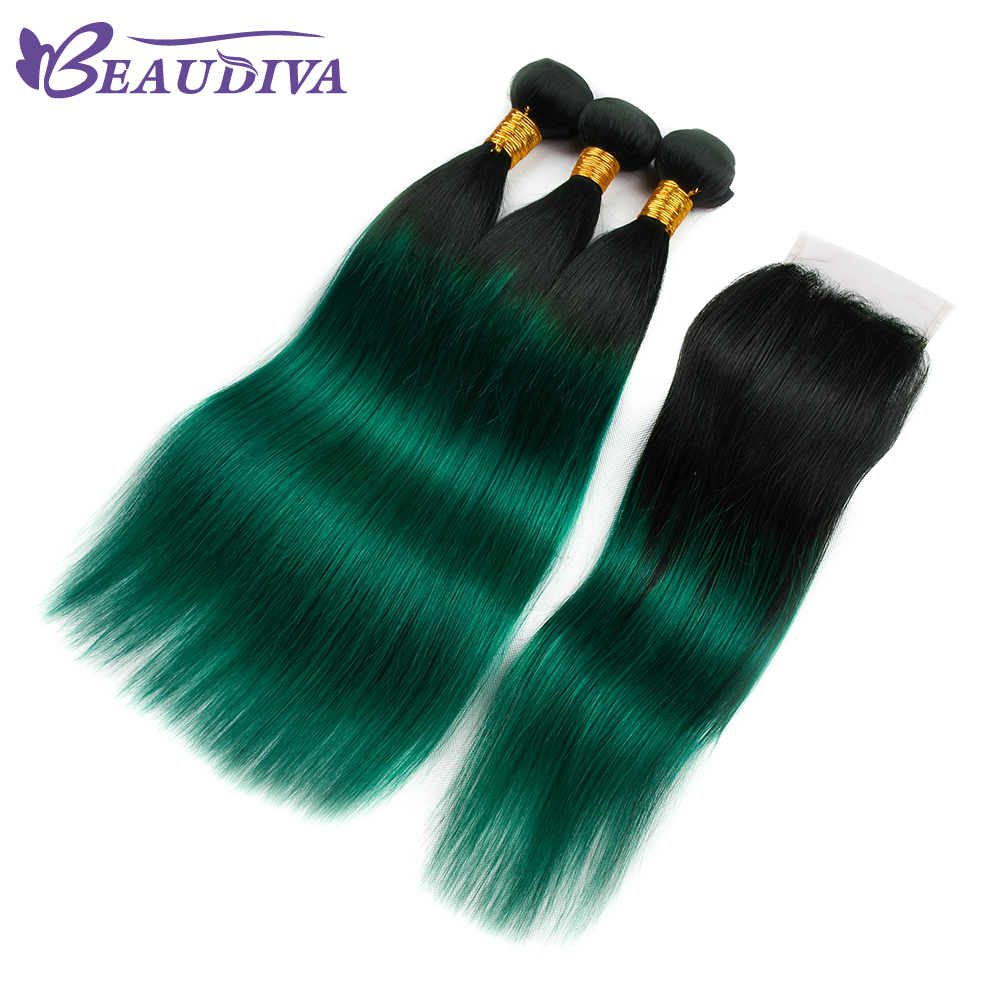 Human Hair Weaves Ombre Bundles With Closure 3 Bundles With Closure T1b/ Green Dark Roots Turquoise Silk Straight Human Hair Hair Extensions & Wigs