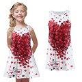 2017 Fantasia Vestidos Meninas vestido de traje da Forma Do Coração de Impressão vestidos Casuais crianças vestido de Verão vestido de menina Para 2 4 6 8 Anos