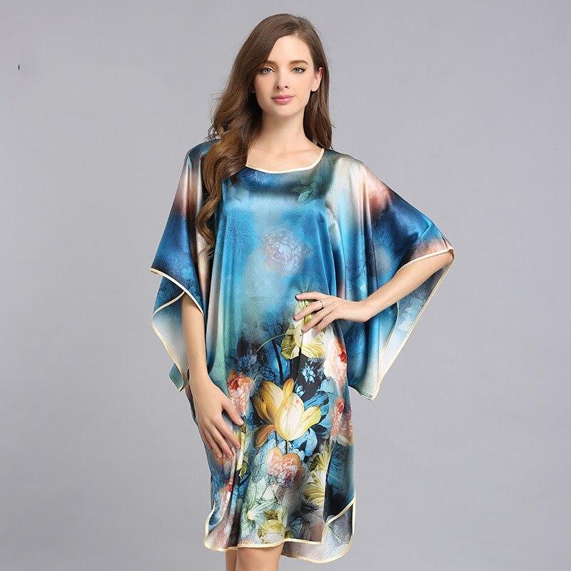 CEARPION Nevolty Print Flower Women Nightdress Elegant O neck Short Sleeve Sleep Wear 100 Silk Sleepgown