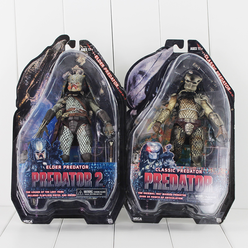 2Pcs/Set 18cm NECA Predator 2 Classic Elder Predator Action Figure Toy Collection Model Dolls Great Gift neca predator 2 pvc action figures toys collectible model dolls classic toy great gift 718cm with box free shipping