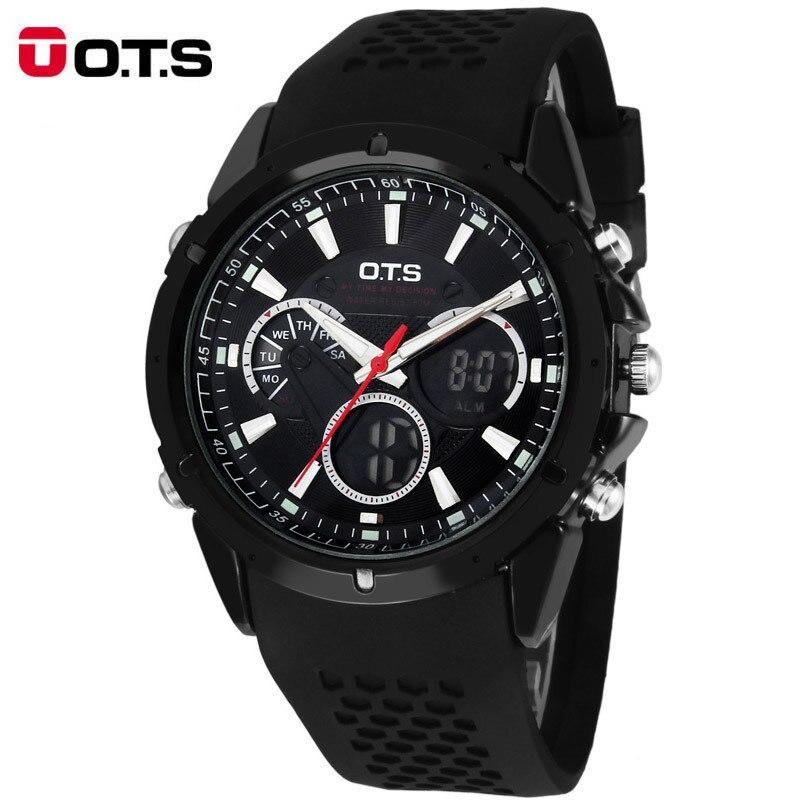 OTS Luxury Brand Men LED Digital Watch Sports Watches Fashion Rubber Band Casual Quartz Wrist Relogio Masculino