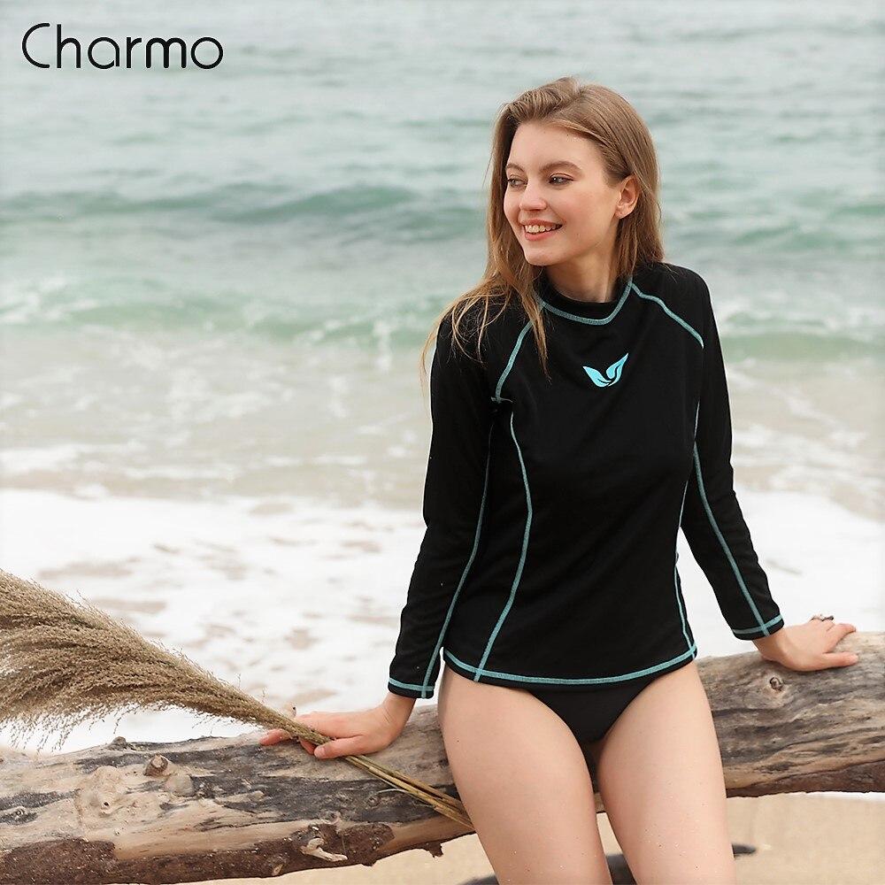 Charmo Women Rash Guard Long Sleeve Quick-drying Rashguard Surf Top Running Biking Shirts Swimsuit UPF 50+ Quick Dry Beachwear