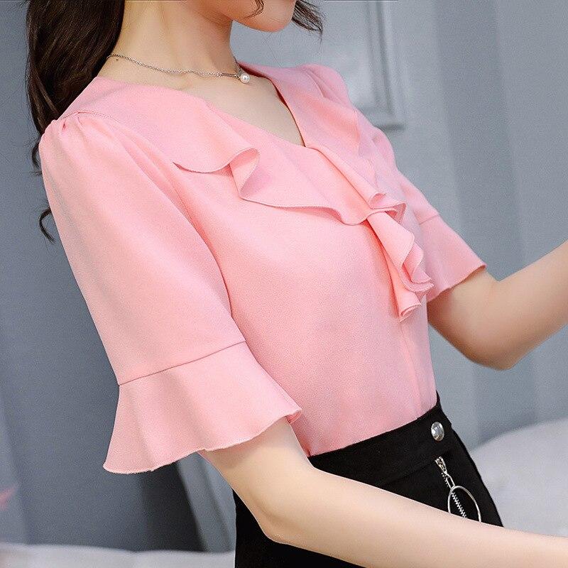 54e654dad18f 2018 Summer Spring Women Short Sleeve Blouses Shirts Ruffles Chiffon Office  Work Shirt Blouse Female Blusas