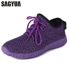 SAGYUA TOP SALE Молодые женщины Мода Casual Net Mesh Air Shallow Low Leisure Comfort Mujer Zapatillas Lace Up Shoes Plimsoll T287