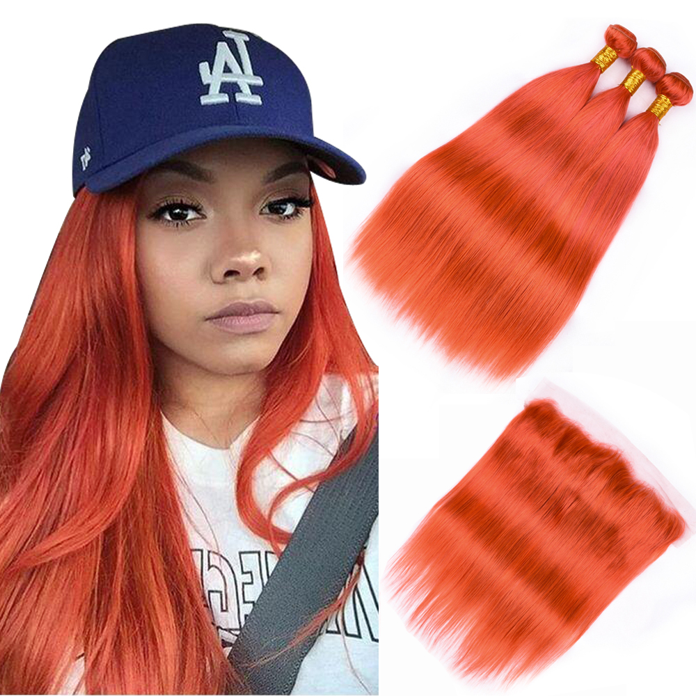BEAU DIVA Malaysian Straight Hair 3 Pieces Orange Straight Human Hair With Lace Frontal 13*4 Ear to Ear Free Part Lace Closure