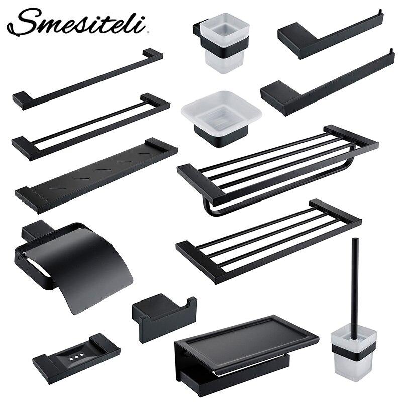 Bathroom Accessories Hardware Set Matte Black SUS304 Stainless Steel Paper Holder Toothbrush Holder Towel Bar Bathroom Shelves