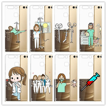 Spain Cartoon Medicine Doctor Nurse hard phone Matte transparent case For Huawei P8/P9/P10/P20 lite plus Cover Fundas Coque