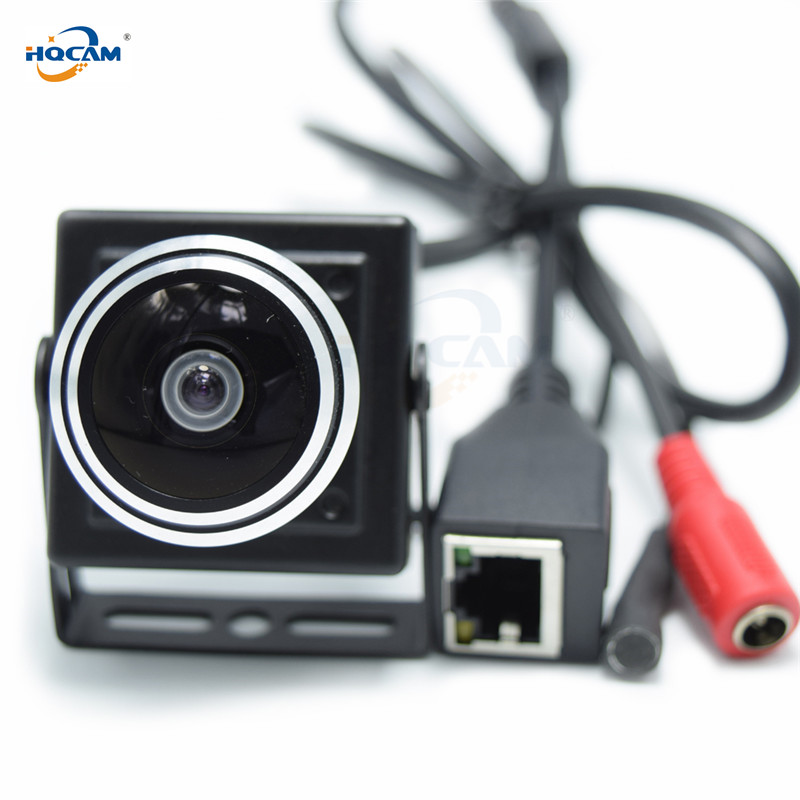 HQCAM 5/4/3/2/1.3/1MP Audio video camera MINI IP camera H.264 mic camera P2P network 1.78mm Fisheye Wide Angle Fisheye Lens-in Surveillance Cameras from Security & Protection