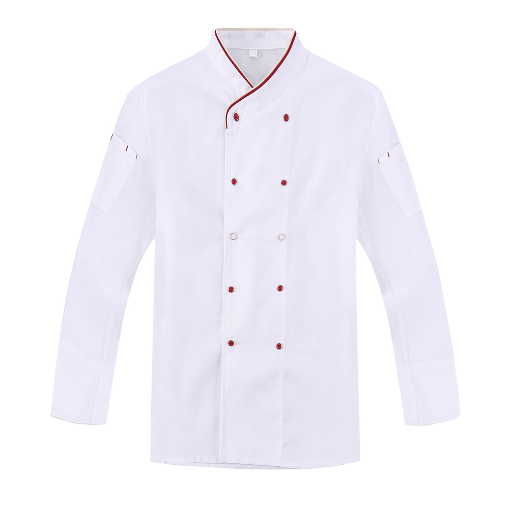 New 3-Colors Kitchen Chef Jacket Uniforms Long-Sleeved Cook Clothes Restaurant Food Services Frock Coats Man And Woman Work Wear