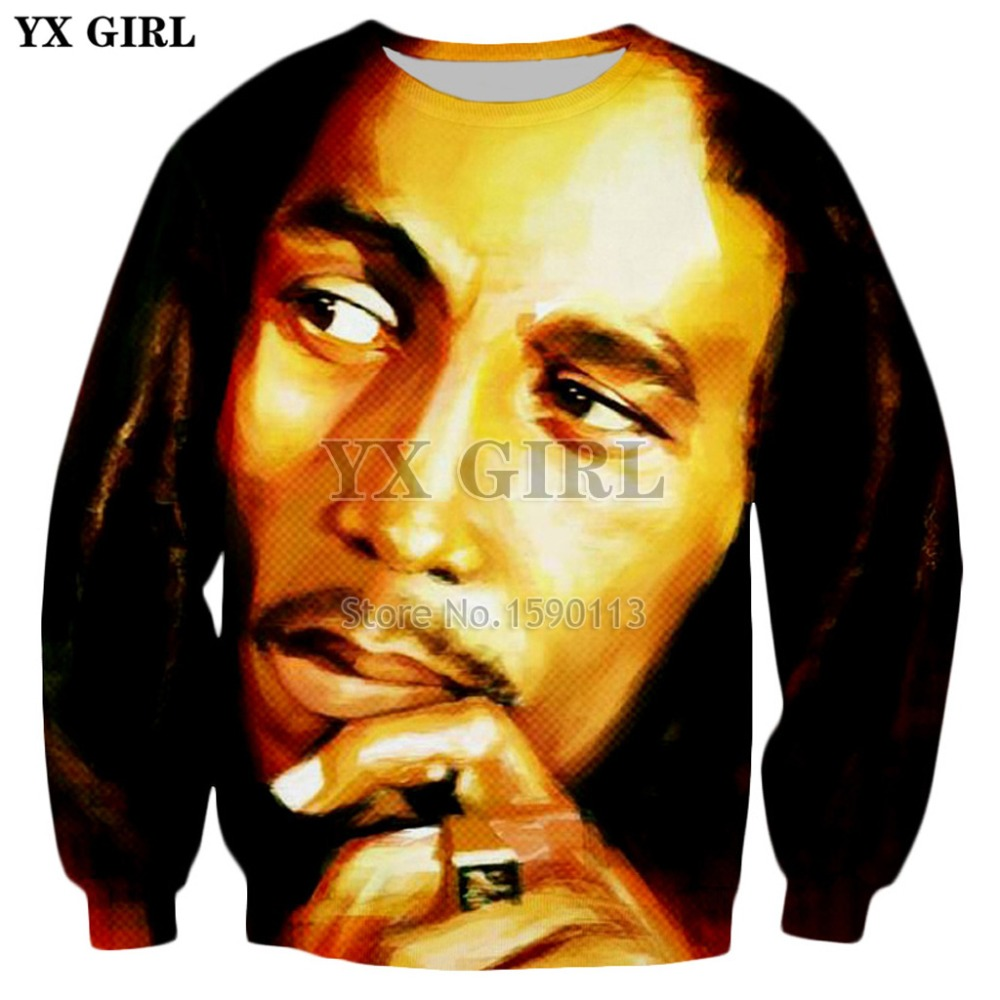 YX GIRL Drop shipping 2018 autumn Fashion Sweatshirt Reggae Bob Marley 3d Print Hoodies Men Women Hip Hop Long Sleeve Outerwear
