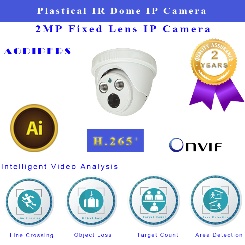 1080P Infrared CMOS IP Dome Camera supports 2.8 mm lens H.265 H.264 CCTV Camera FTP photo and Email Photo alarm Security Camera