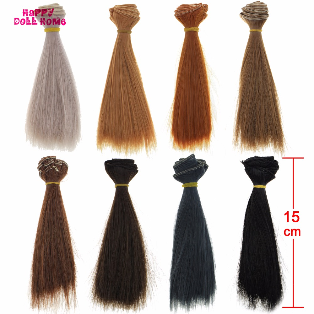 1 Pcs BJD Wigs 15 * 100 cm Grey Brown Black DIY Straight Hair For Barbie Doll For Monster High 1/3 1/4 1/6 Doll Head Accessories handmade bjd doll wigs headgear wigs cap doll accessories diy fixed wig hairnet hair net for for 1 3 1 4 1 6 sd bjd toy for girl