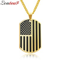 LOULEUR 2017 American Flag Necklace USA Patriot Freedom Stars Stripes Dog Tag Necklace Pendant For Men