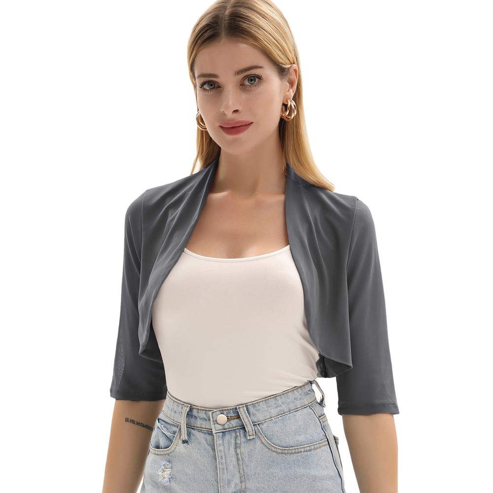 Kimono Tops Comfy Shrug Cropped Cardigan Causal Soft Cover Up Stretchy Irregular Hem Women See Through Mesh 2019 in Jackets from Women 39 s Clothing