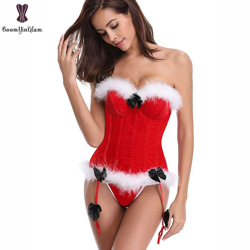 Christmas   Corset   Solid Red Overbust Cup White Fluff Fish Boned   Corsets   Miss Santa   Bustier   Sexy Xmas   Corsets   Halloween Korset Hot