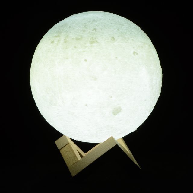 Creative 3D Print Moon Lamp With Touch Sensing Switch Lunar Color Changeable Night