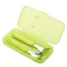 2Pcs/Set Lovely Children Flatware Set Stainless Steel Dessert Spoon Cake Fork Metal Forks Infant feeding spoon