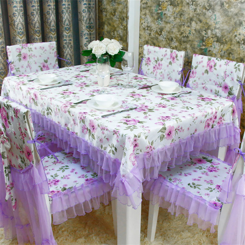 13pcs Set Lace Polyester Tablecloth Chair Cover Dining Table Home Wedding Decor