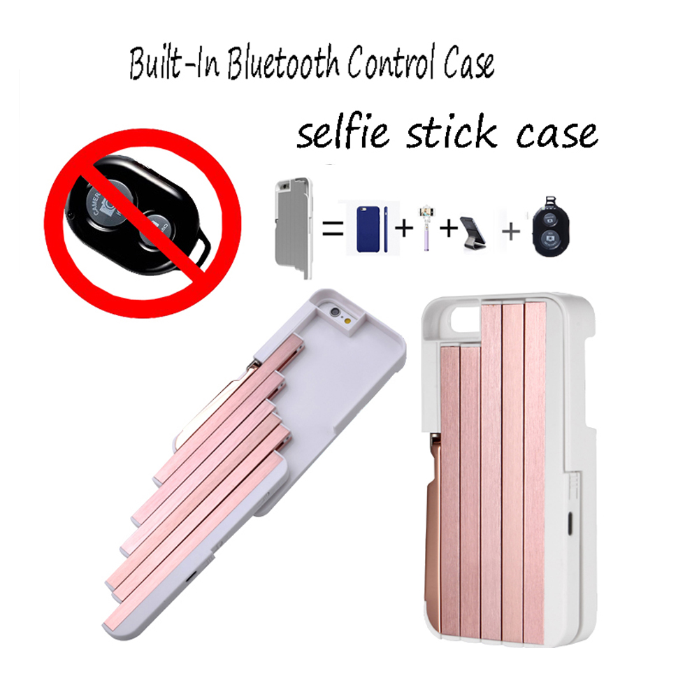 Selfie Stick Case For Iphone5 5s se 6 6s+ Built-In Bluetooth Control Retractable Aluminum Extendable Monopod Shell Phone