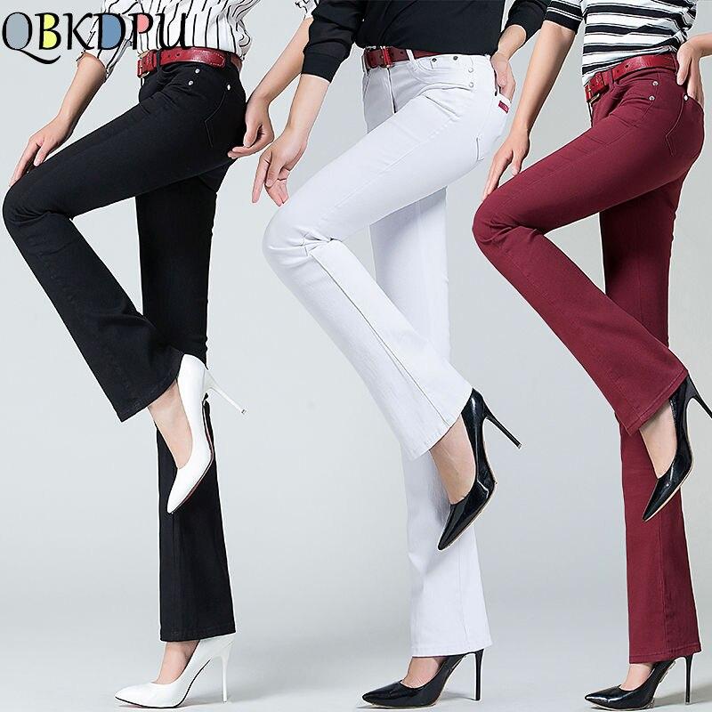 Women High Waist Slim Elastic Flare Jeans Korean Skinny Workwear Ladies Bell Bottom Trousers 2019 Mom's Plus Size Denim Pants