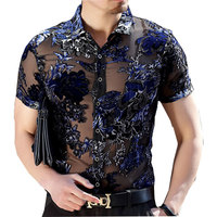 Luxury Silk Lelvet Transparent Floral Shirt Short Sleeve See Through Shirt Camisa Masculina Sexy Lace Shirt Chemise Homme 4xl