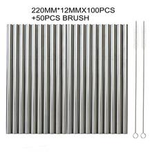 220MM*12MM 100Pcs/Lot Extra Wide Reusable 304 Stainless Steel Drinking Straws Straight Metal Straw For Tapioca Pearls