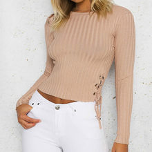 14b64dfe1e Lace Up Hollow Out Skinny Sweaters Long Sleeve Women Crop Tops Winter Autumn  Short Pullovers Knitted Slim Jumper Plus Size GV195