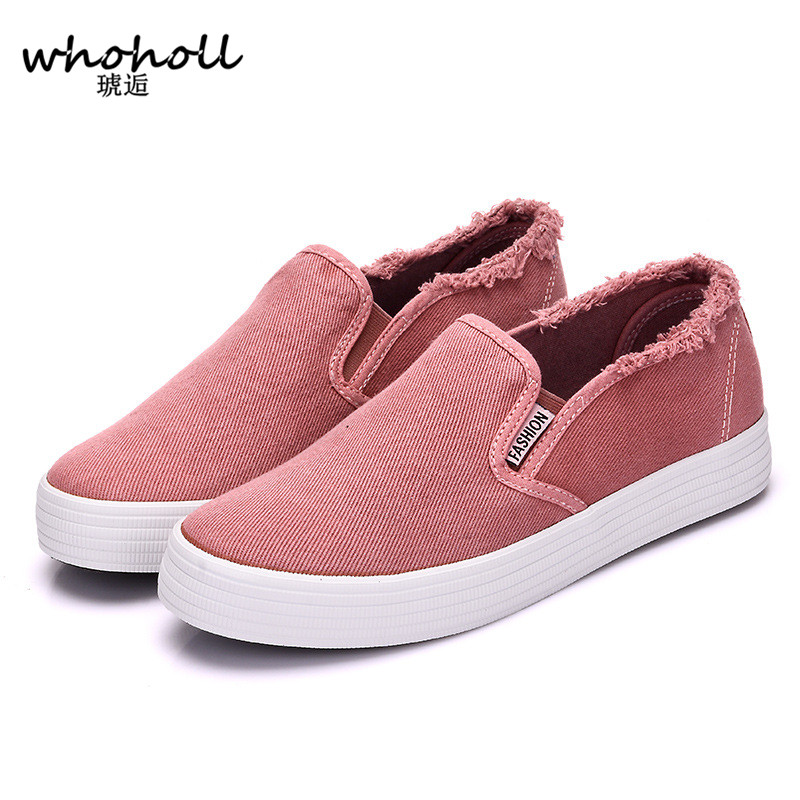 WHOHOLL Women casual shoes canvas shoes female slip-on platform thick heel breatheable black white red green female cloth shoes e toy word canvas shoes women han edition 2017 spring cowboy increased thick soles casual shoes female side zip jeans blue 35 40
